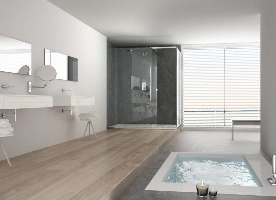 Minimalist white bathroom with bath tub and panoramic window, classic interior design