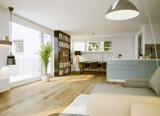 modern apartment interior with scandinavian furniture design