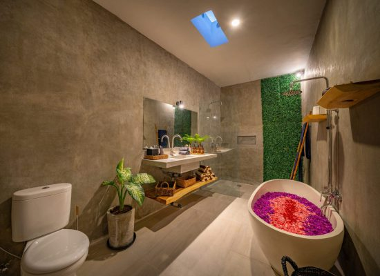 Luxury bathroom with polished concrete on the walls and PVC on the floor. Modern bathroom with cement polish walls.