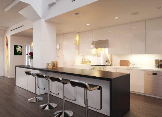 Kitchen implemented inside a city loft